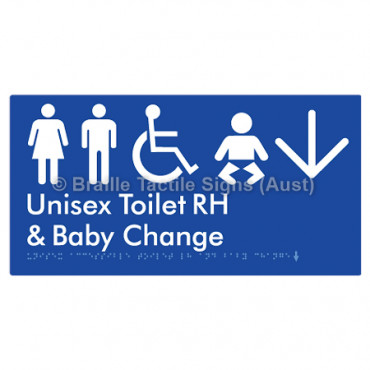 Unisex Accessible Toilet RH and Baby Change w/ Large Arrow: D